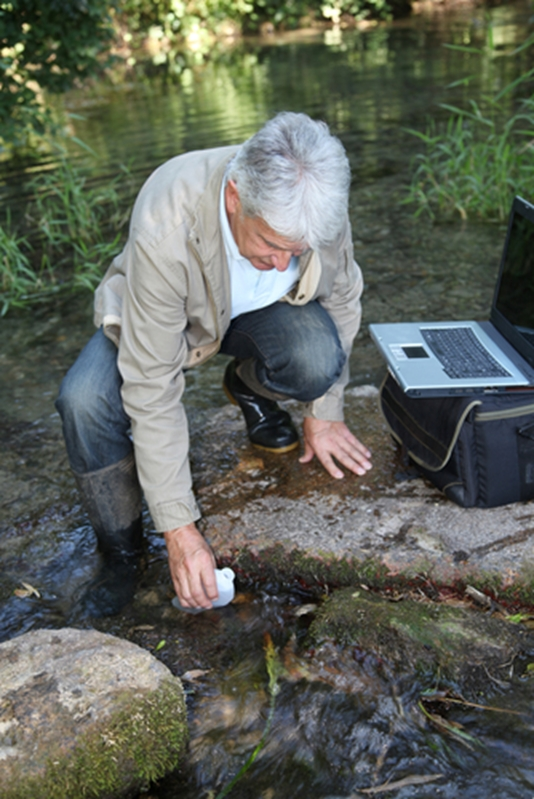 Environmental scientists will typically conduct research by gathering samples and data.